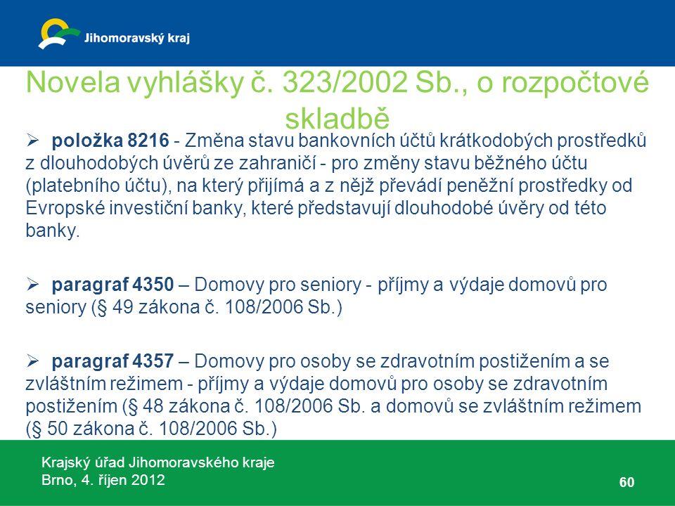 Krajský úřad Jihomoravského kraje Brno, 4. říjen 2012 Novela vyhlášky č. 323/2002 Sb., o rozpočtové skladbě  položka 8216 - Změna stavu bankovních úč