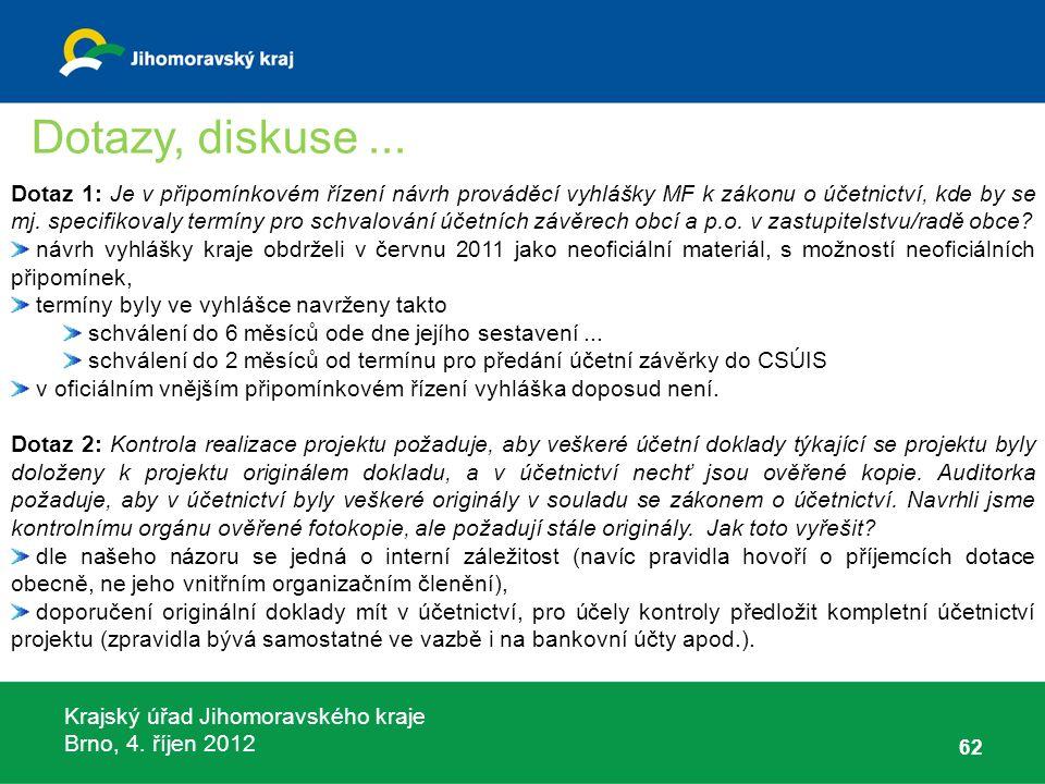 Krajský úřad Jihomoravského kraje Brno, 4. říjen 2012 62 Dotaz 1: Je v připomínkovém řízení návrh prováděcí vyhlášky MF k zákonu o účetnictví, kde by