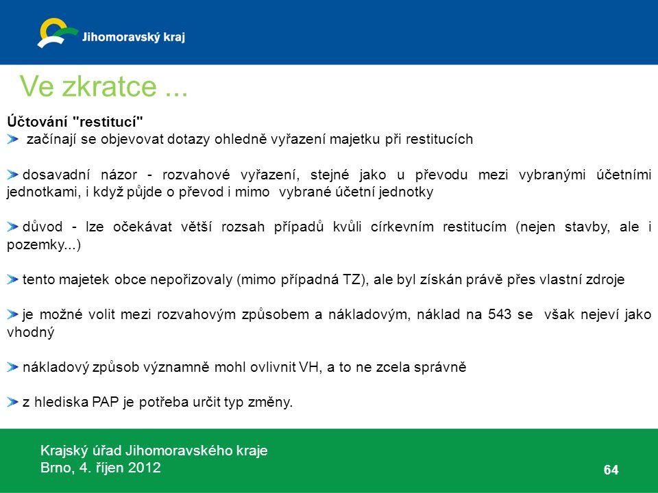 Krajský úřad Jihomoravského kraje Brno, 4. říjen 2012 64 Účtování