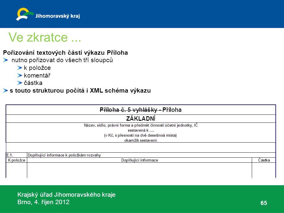 Krajský úřad Jihomoravského kraje Brno, 4. říjen 2012 65 Pořizování textových částí výkazu Příloha nutno pořizovat do všech tří sloupců k položce kome