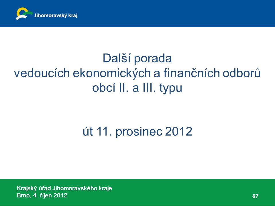 Krajský úřad Jihomoravského kraje Brno, 4. říjen 2012 Další porada vedoucích ekonomických a finančních odborů obcí II. a III. typu út 11. prosinec 201