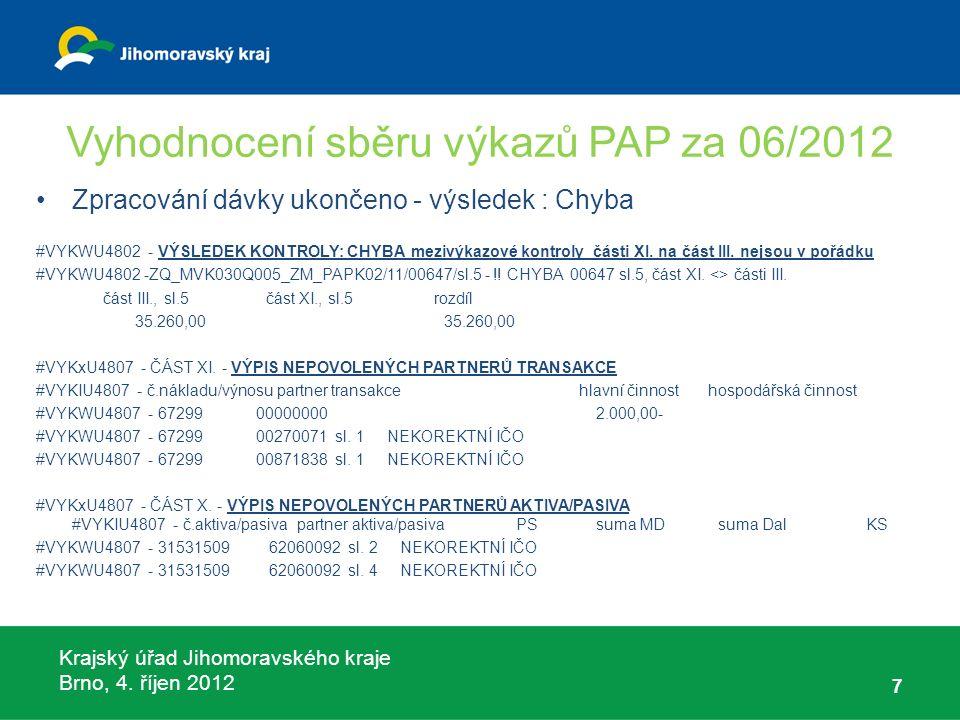 Krajský úřad Jihomoravského kraje Brno, 4. říjen 2012 Vyhodnocení sběru výkazů PAP za 06/2012 7 Zpracování dávky ukončeno - výsledek : Chyba #VYKWU480