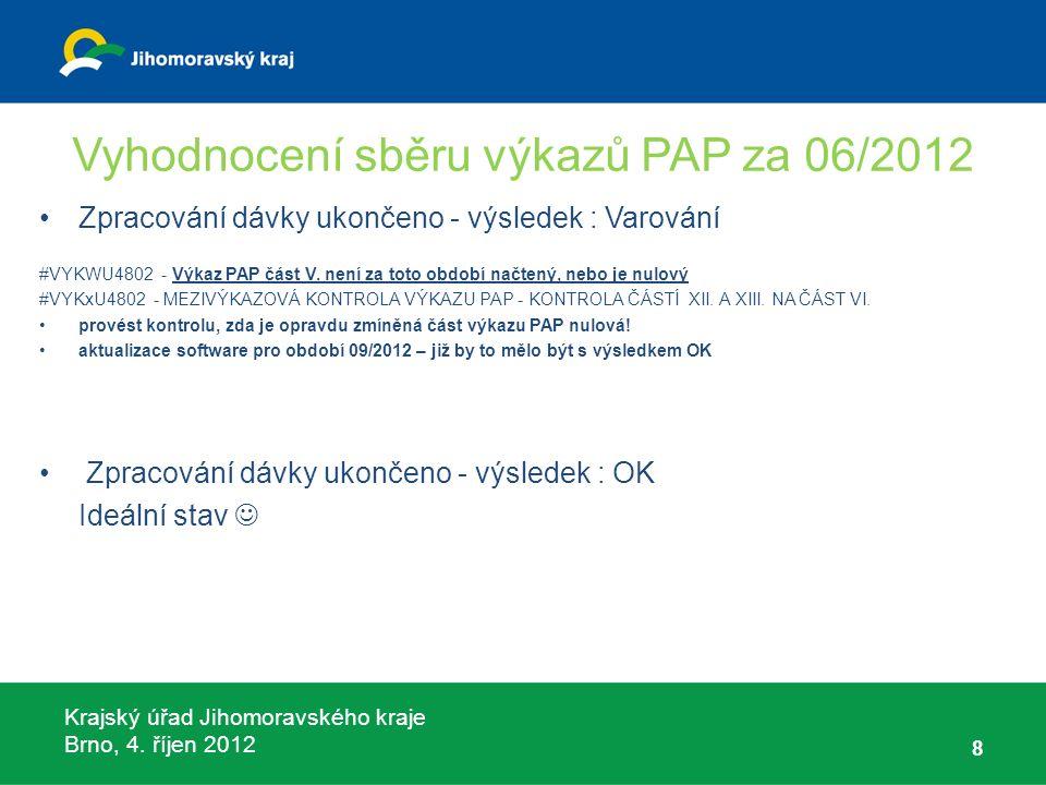 Krajský úřad Jihomoravského kraje Brno, 4. říjen 2012 Vyhodnocení sběru výkazů PAP za 06/2012 8 Zpracování dávky ukončeno - výsledek : Varování #VYKWU