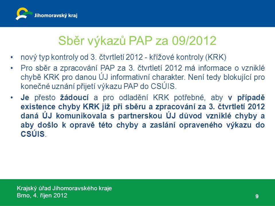 Krajský úřad Jihomoravského kraje Brno, 4. říjen 2012 Sběr výkazů PAP za 09/2012 nový typ kontroly od 3. čtvrtletí 2012 - křížové kontroly (KRK) Pro s