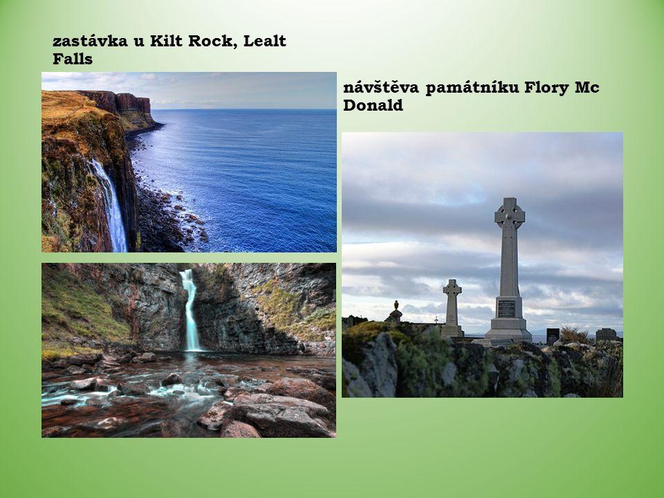 návštěva památníku Flory Mc Donald zastávka u Kilt Rock, Lealt Falls