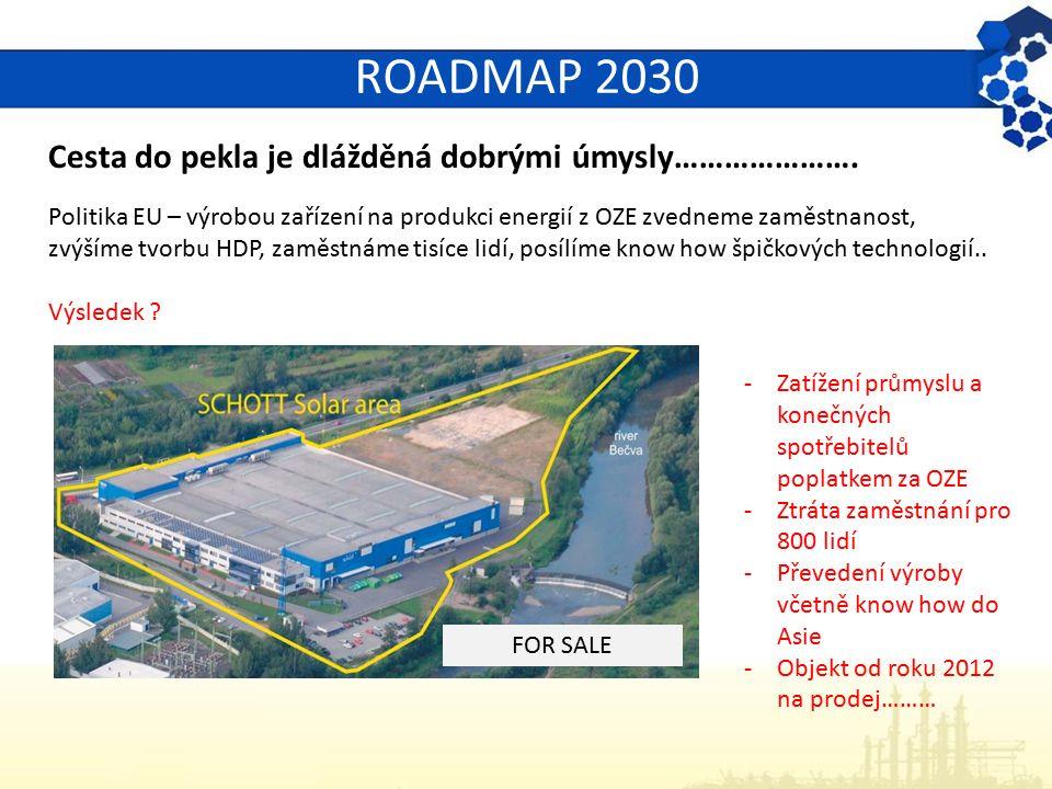 ROADMAP 2030 Cesta do pekla je dlážděná dobrými úmysly…………………. Politika EU – výrobou zařízení na produkci energií z OZE zvedneme zaměstnanost, zvýšíme