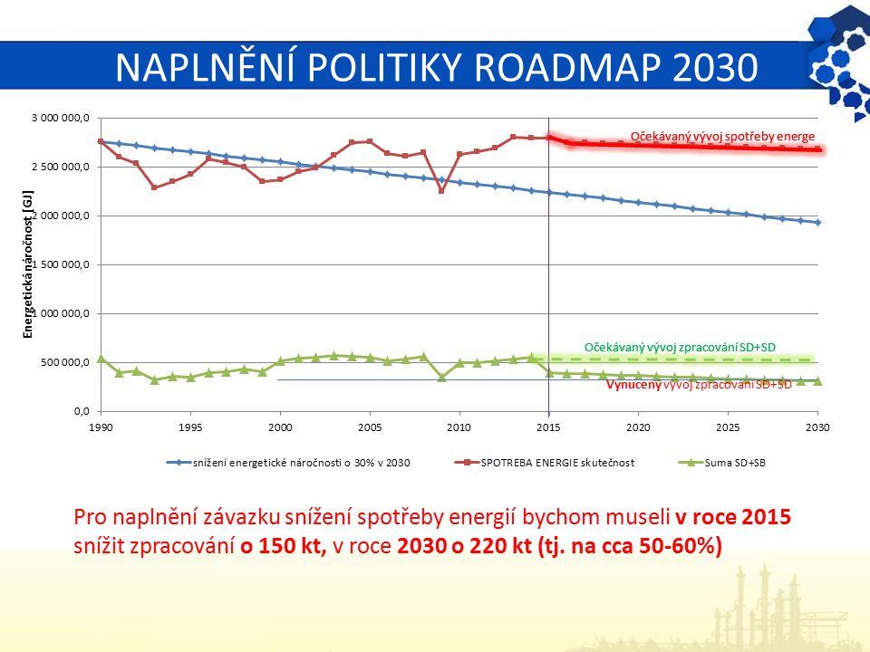 NAPLNĚNÍ POLITIKY ROADMAP 2030 Pro naplnění závazku snížení spotřeby energií bychom museli v roce 2015 snížit zpracování o 150 kt, v roce 2030 o 220 k