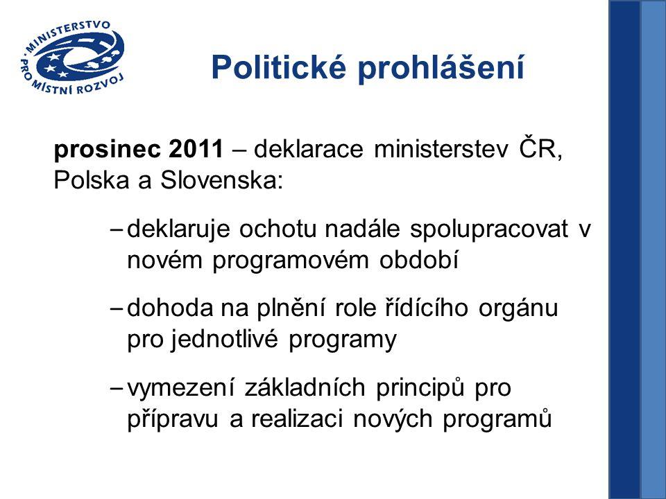 Politické prohlášení prosinec 2011 – deklarace ministerstev ČR, Polska a Slovenska: – deklaruje ochotu nadále spolupracovat v novém programovém období – dohoda na plnění role řídícího orgánu pro jednotlivé programy – vymezení základních principů pro přípravu a realizaci nových programů