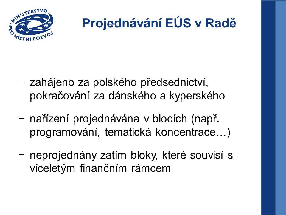 Projednávání EÚS v Radě −zahájeno za polského předsednictví, pokračování za dánského a kyperského −nařízení projednávána v blocích (např.