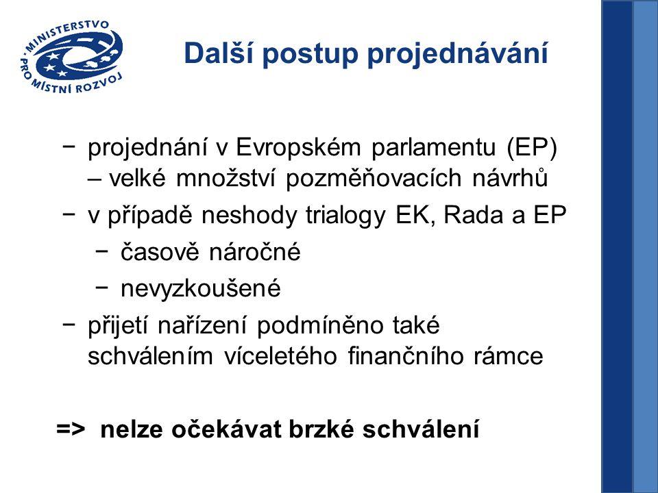 Další postup projednávání −projednání v Evropském parlamentu (EP) – velké množství pozměňovacích návrhů −v případě neshody trialogy EK, Rada a EP −časově náročné −nevyzkoušené −přijetí nařízení podmíněno také schválením víceletého finančního rámce => nelze očekávat brzké schválení