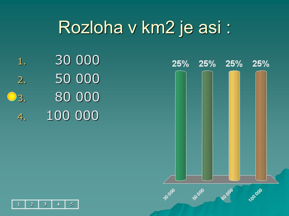 Rozloha v km2 je asi : 1. 30 000 2. 50 000 3. 80 000 4. 100 000 12345