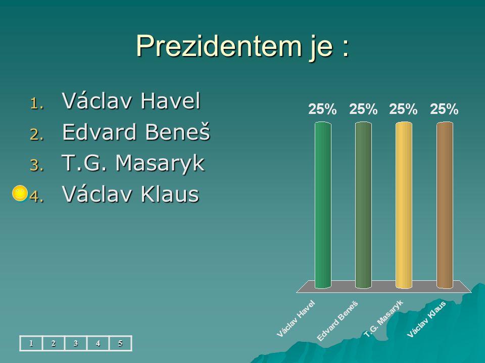 Prezidentem je : 1. Václav Havel 2. Edvard Beneš 3. T.G. Masaryk 4. Václav Klaus 12345