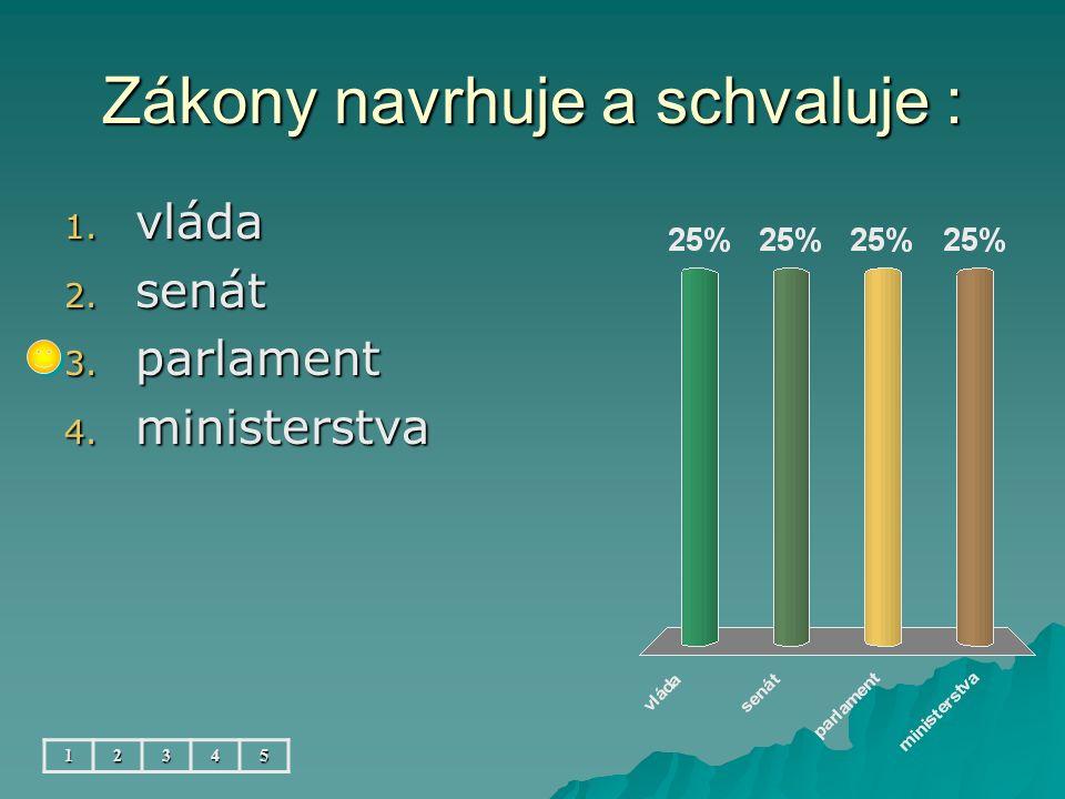 Zákony navrhuje a schvaluje : 1. vláda 2. senát 3. parlament 4. ministerstva 12345