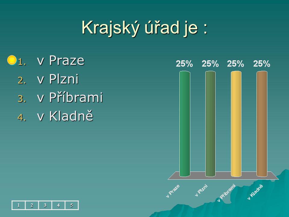 Krajský úřad je : 1. v Praze 2. v Plzni 3. v Příbrami 4. v Kladně 12345