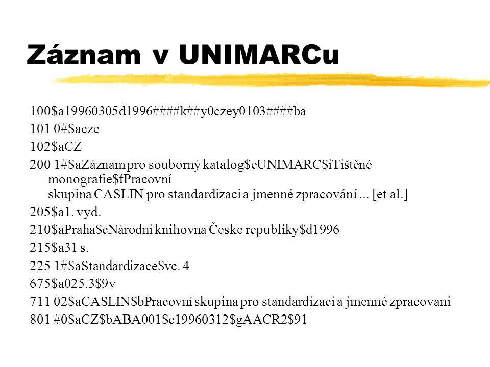 Záznam v UNIMARCu 100$a 1 9960305d1996####k##y0czey0103####ba 101 0#$acze 102$aCZ 200 1#$aZ á znam pro souborný katalog$eUNIMARC$iTi š těn é monografi