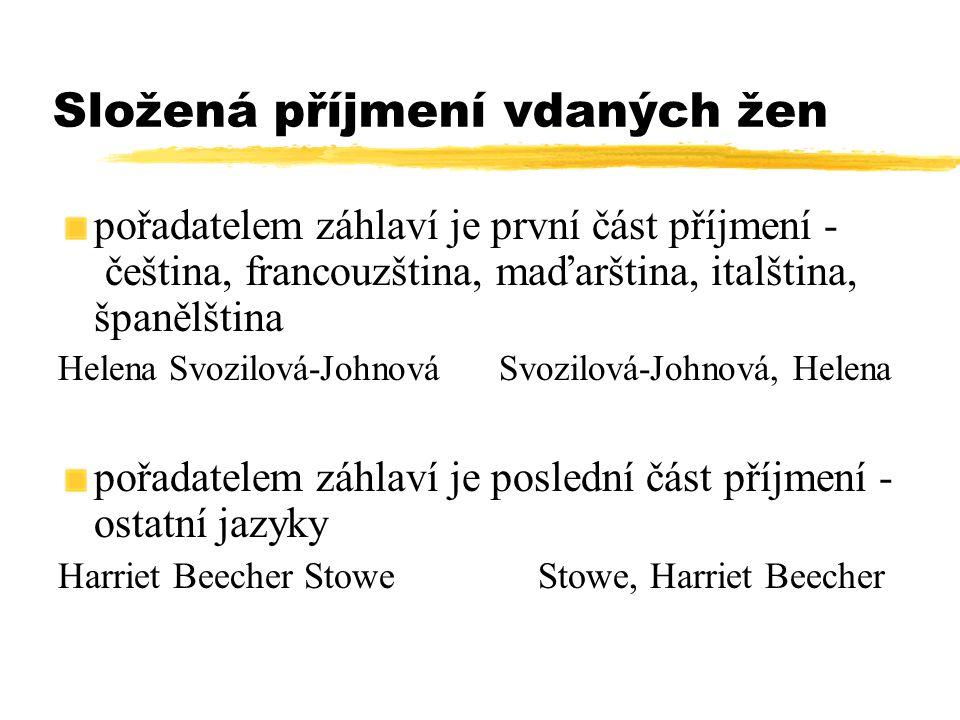 Složená příjmení vdaných žen pořadatelem záhlaví je první část příjmení - čeština, francouzština, maďarština, italština, španělština Helena Svozilová-