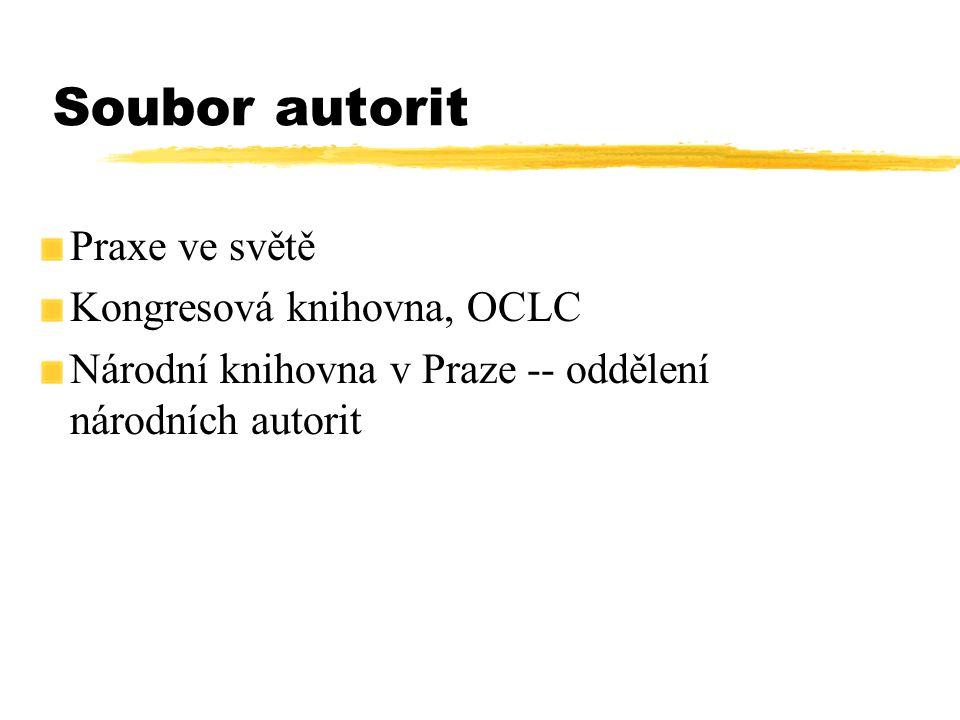 Soubor autorit Praxe ve světě Kongresová knihovna, OCLC Národní knihovna v Praze -- oddělení národních autorit