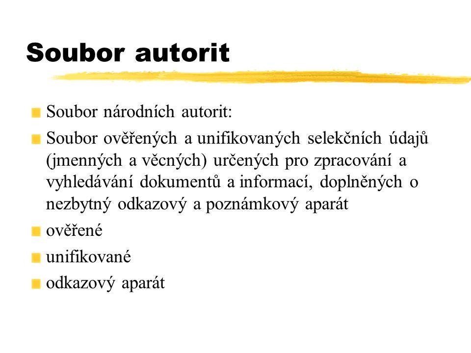 Soubor autorit Soubor národních autorit: Soubor ověřených a unifikovaných selekčních údajů (jmenných a věcných) určených pro zpracování a vyhledávání