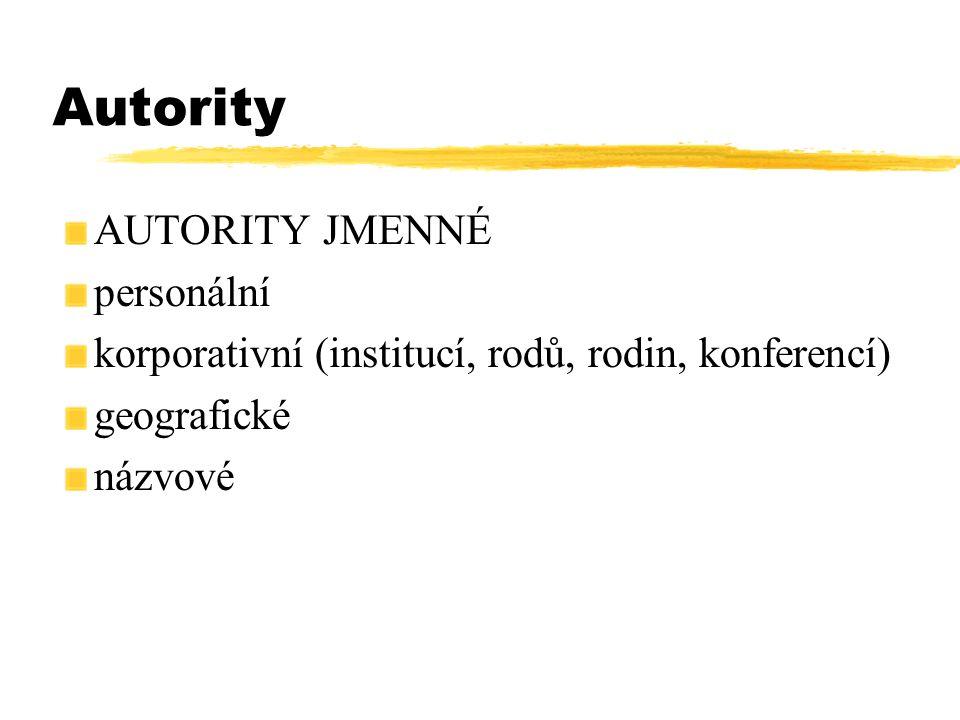 Autority AUTORITY JMENNÉ personální korporativní (institucí, rodů, rodin, konferencí) geografické názvové