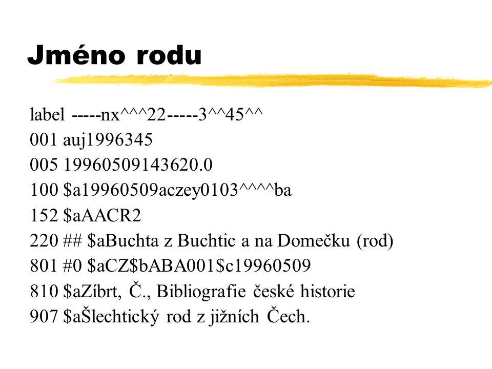 Jméno rodu label -----nx^^^22-----3^^45^^ 001 auj1996345 005 19960509143620.0 100 $a19960509aczey0103^^^^ba 152 $aAACR2 220 ## $aBuchta z Buchtic a na