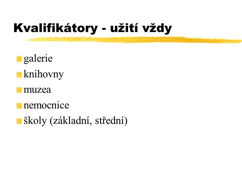 Kvalifikátory - užití vždy galerie knihovny muzea nemocnice školy (základní, střední)