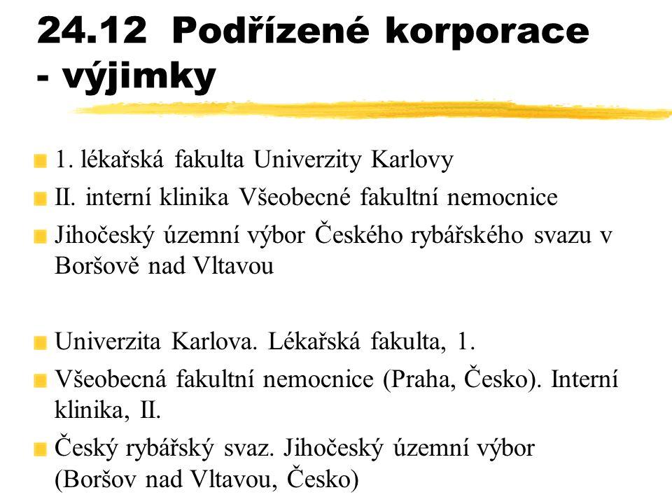 24.12Podřízené korporace - výjimky 1. lékařská fakulta Univerzity Karlovy II. interní klinika Všeobecné fakultní nemocnice Jihočeský územní výbor Česk