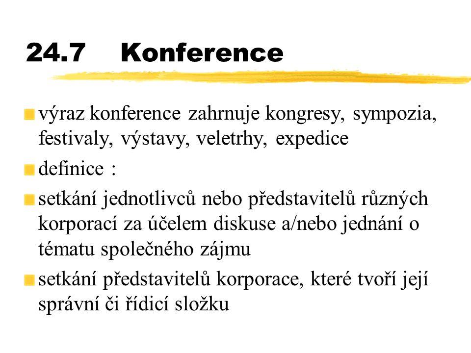 24.7Konference výraz konference zahrnuje kongresy, sympozia, festivaly, výstavy, veletrhy, expedice definice : setkání jednotlivců nebo představitelů