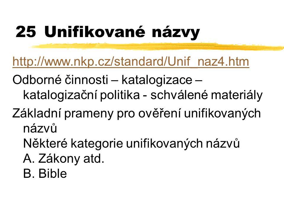 25Unifikované názvy http://www.nkp.cz/standard/Unif_naz4.htm Odborné činnosti – katalogizace – katalogizační politika - schválené materiály Základní p