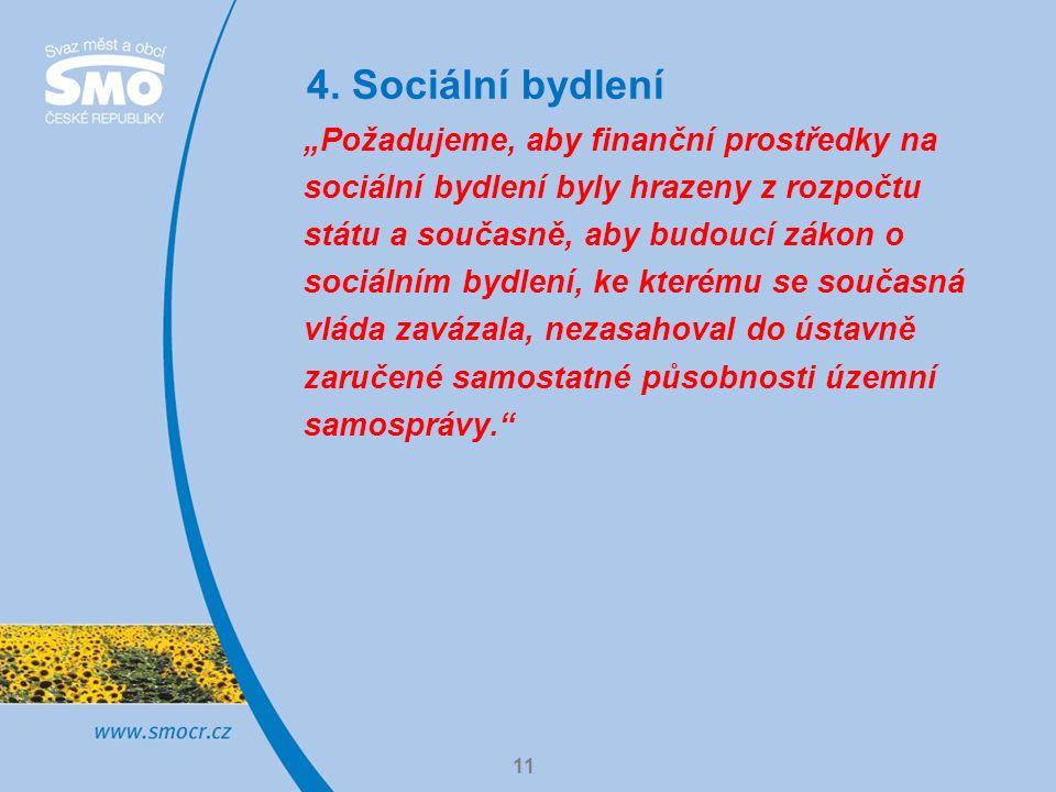"""4. Sociální bydlení 11 """"Požadujeme, aby finanční prostředky na sociální bydlení byly hrazeny z rozpočtu státu a současně, aby budoucí zákon o sociální"""