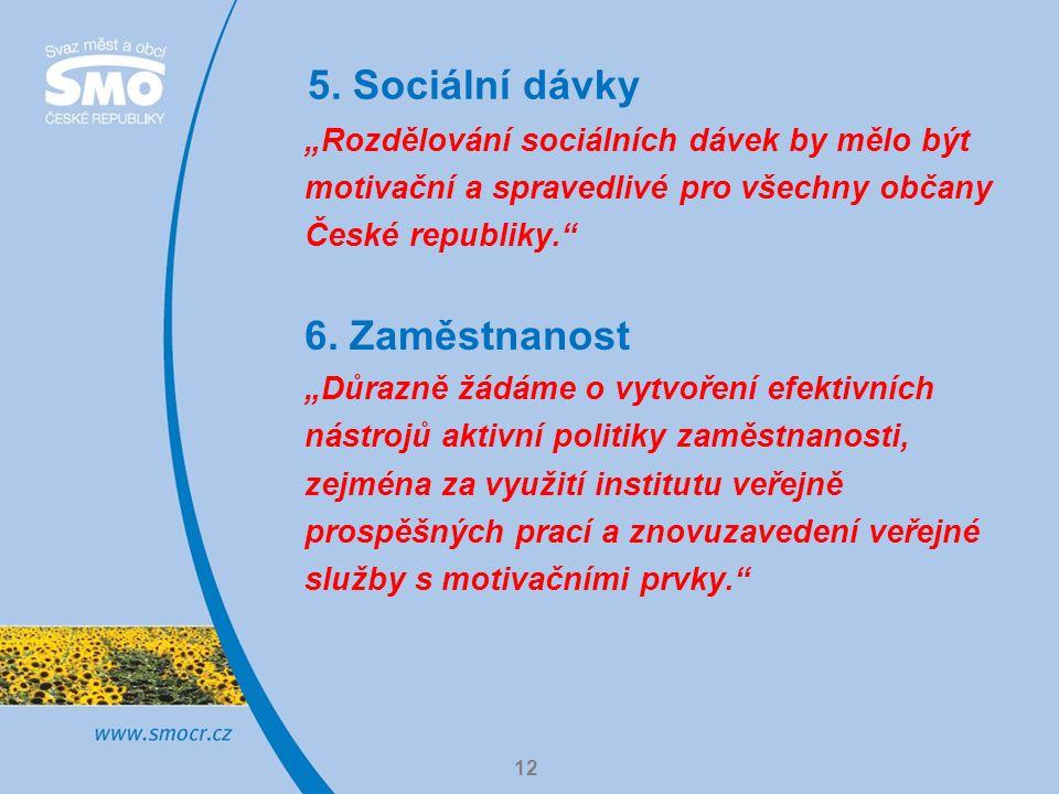 """5. Sociální dávky 12 """"Rozdělování sociálních dávek by mělo být motivační a spravedlivé pro všechny občany České republiky."""" 6. Zaměstnanost """"Důrazně ž"""