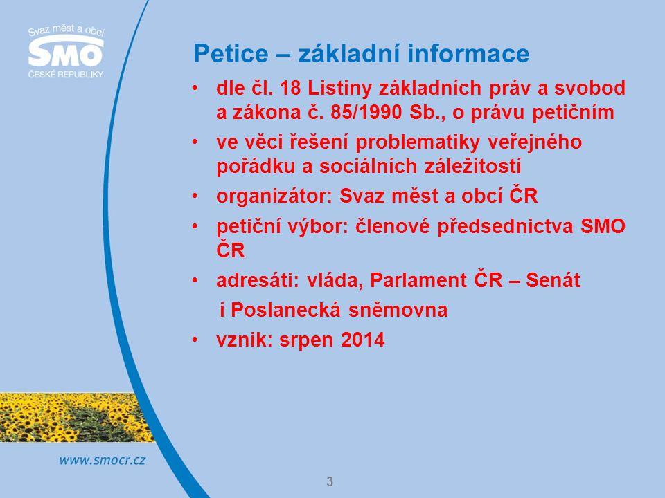 Petice – důvody vzniku 4 apel na vládu a Parlament České republiky, aby podnikly kroky k rychlému a efektivnímu řešení dlouhodobě neřešených otázek, které jsou jednou z příčin sociálního napětí na území měst a obcí České republiky veřejná správa má pouze omezené kompetence a nástroje, jak může dané oblasti řešit sama připomínky měst a obcí při přípravě zákonů – zejména co se týče poslaneckých iniciativ – nejsou brány na zřetel předem domluvená jednání se státní správou často mění termíny nebo nejsou vůbec realizována