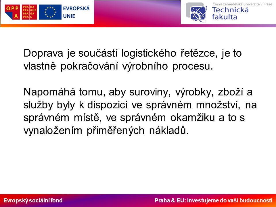 Evropský sociální fond Praha & EU: Investujeme do vaší budoucnosti Doprava je součástí logistického řetězce, je to vlastně pokračování výrobního proce