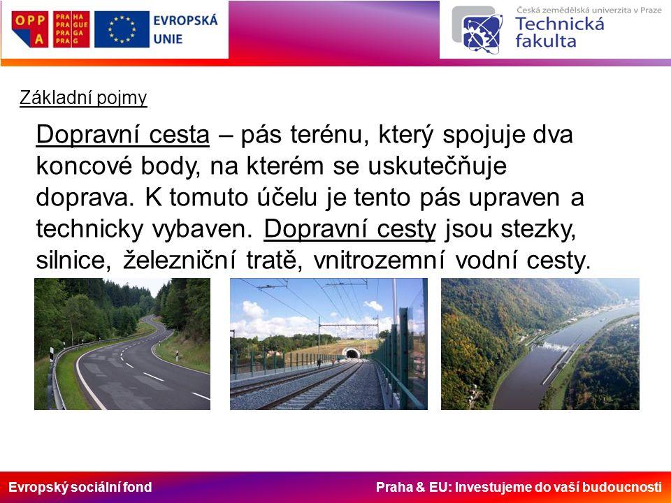 Evropský sociální fond Praha & EU: Investujeme do vaší budoucnosti Základní pojmy Dopravní cesta – pás terénu, který spojuje dva koncové body, na kter