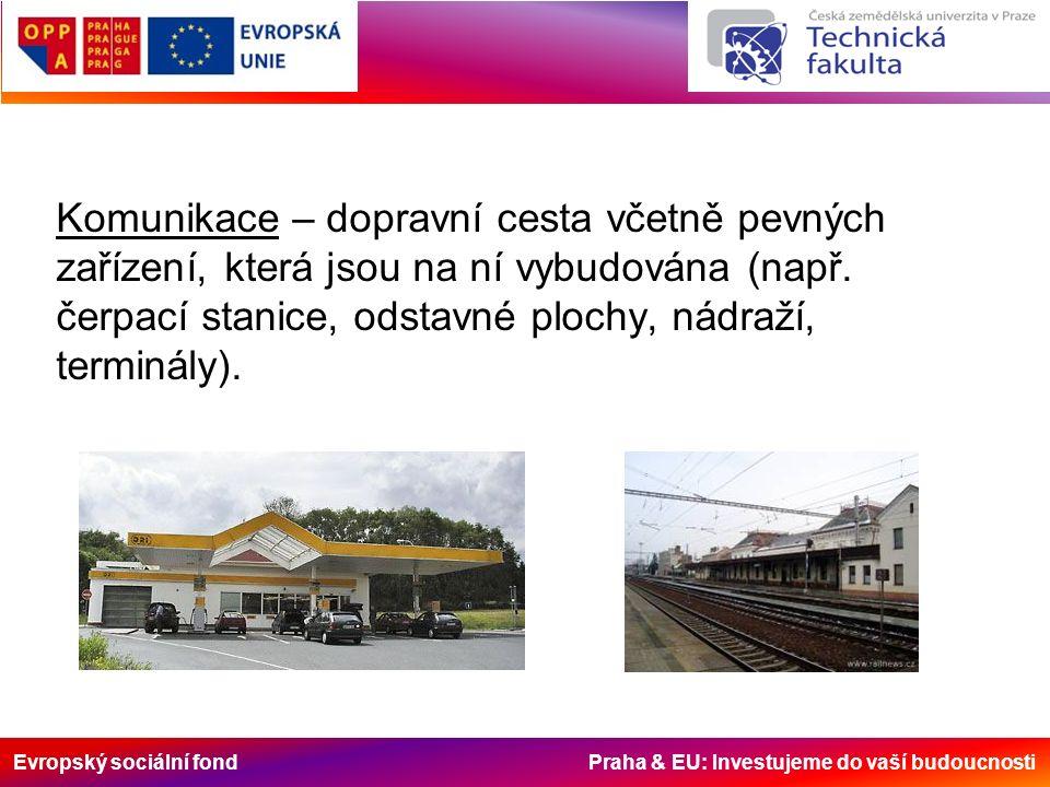 Evropský sociální fond Praha & EU: Investujeme do vaší budoucnosti Komunikace – dopravní cesta včetně pevných zařízení, která jsou na ní vybudována (n