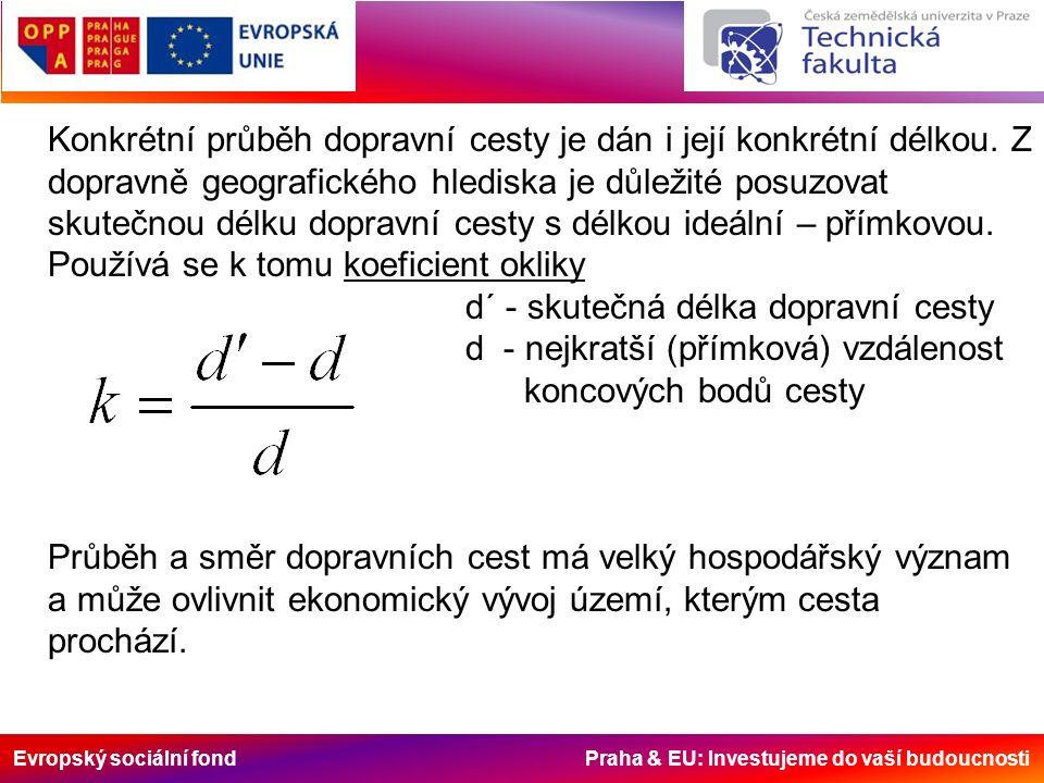 Evropský sociální fond Praha & EU: Investujeme do vaší budoucnosti Konkrétní průběh dopravní cesty je dán i její konkrétní délkou. Z dopravně geografi
