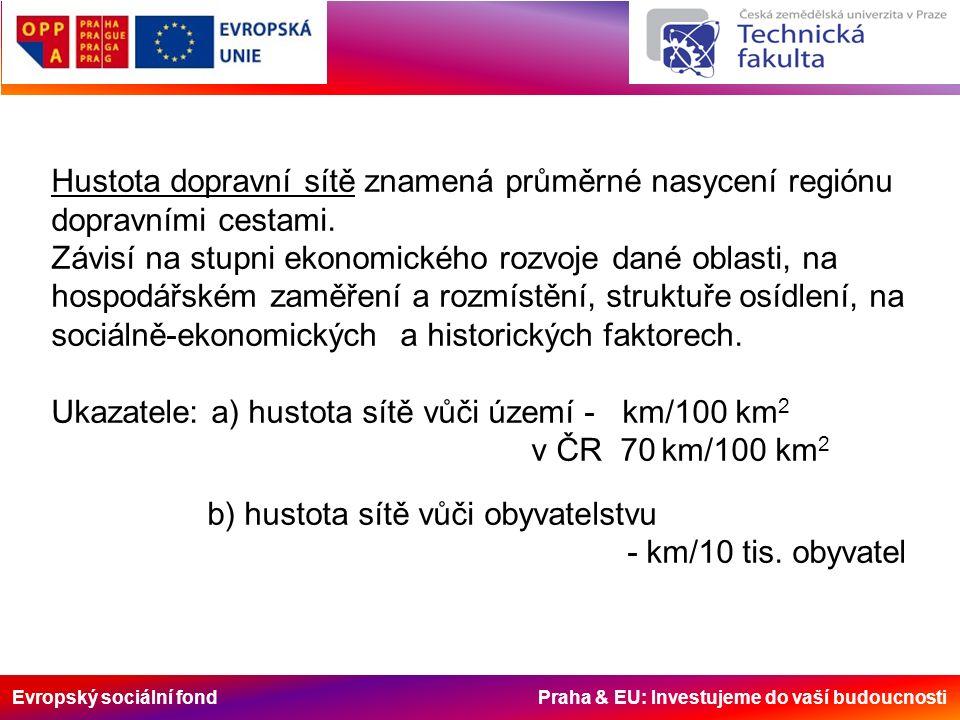 Evropský sociální fond Praha & EU: Investujeme do vaší budoucnosti Hustota dopravní sítě znamená průměrné nasycení regiónu dopravními cestami. Závisí