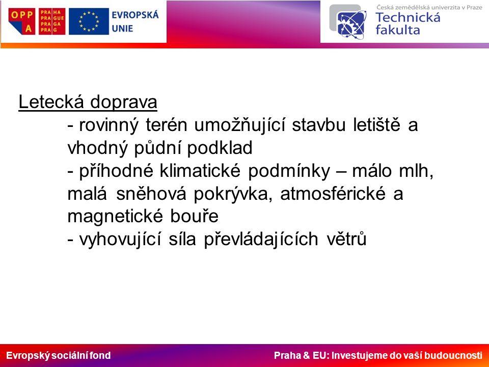 Evropský sociální fond Praha & EU: Investujeme do vaší budoucnosti Letecká doprava - rovinný terén umožňující stavbu letiště a vhodný půdní podklad -