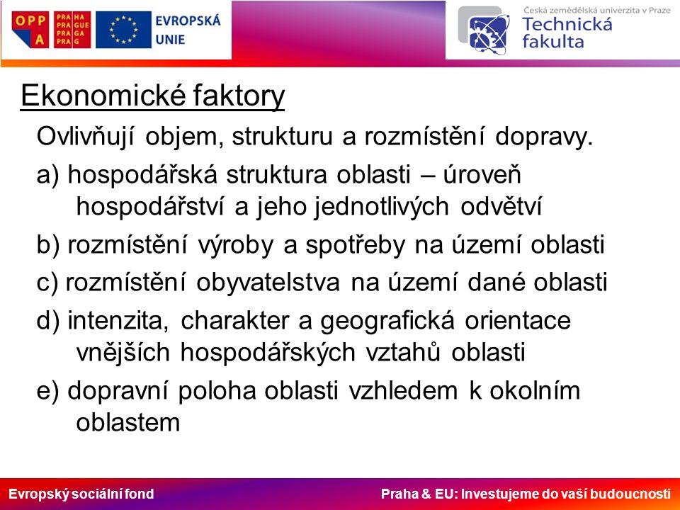 Evropský sociální fond Praha & EU: Investujeme do vaší budoucnosti Ekonomické faktory Ovlivňují objem, strukturu a rozmístění dopravy. a) hospodářská