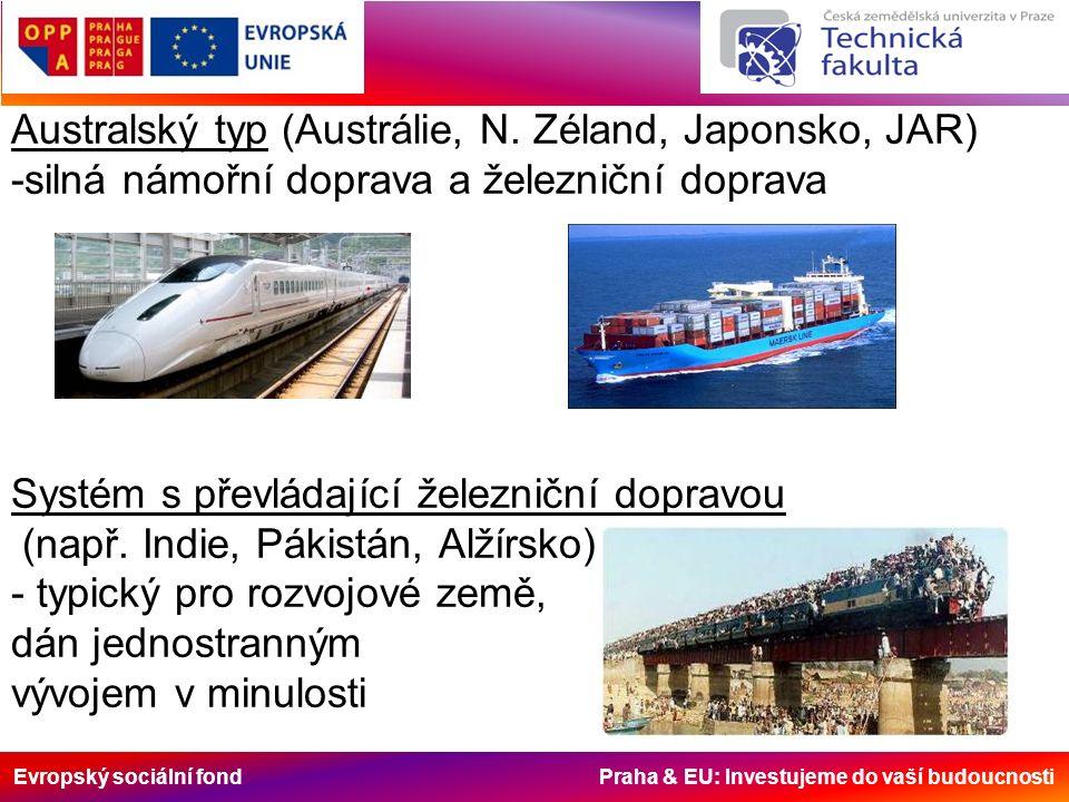 Evropský sociální fond Praha & EU: Investujeme do vaší budoucnosti Australský typ (Austrálie, N. Zéland, Japonsko, JAR) -silná námořní doprava a želez
