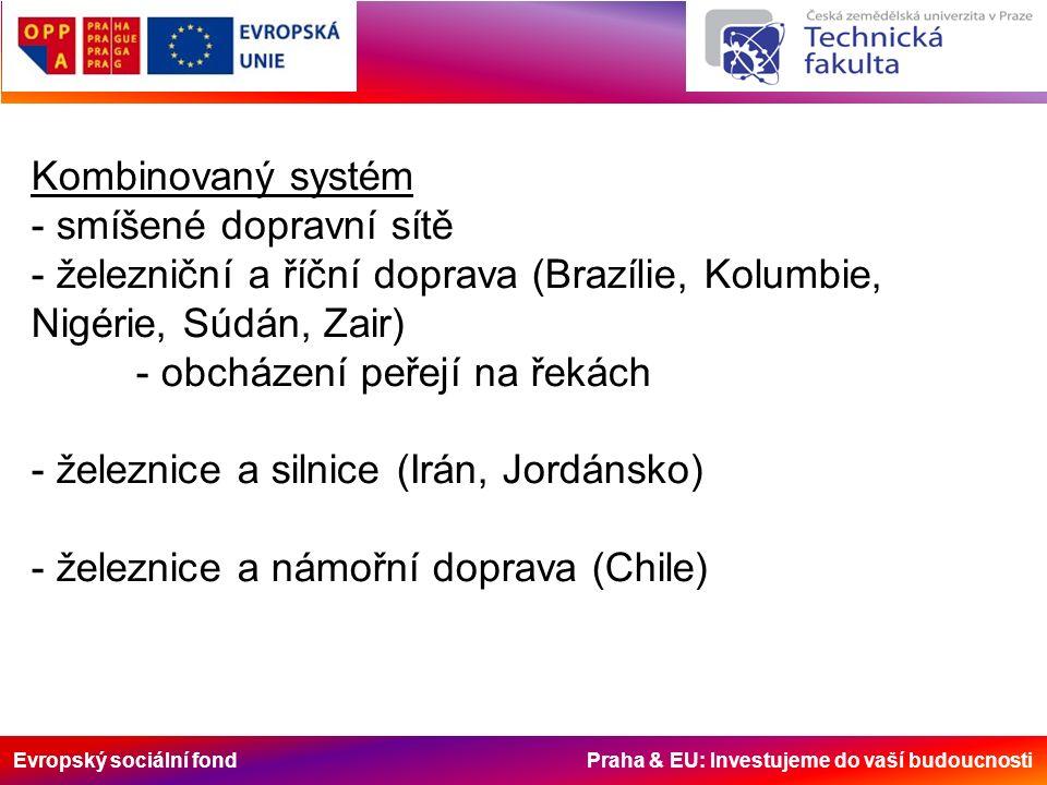 Evropský sociální fond Praha & EU: Investujeme do vaší budoucnosti Kombinovaný systém - smíšené dopravní sítě - železniční a říční doprava (Brazílie,