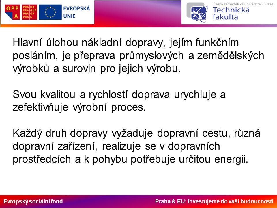 Evropský sociální fond Praha & EU: Investujeme do vaší budoucnosti Hlavní úlohou nákladní dopravy, jejím funkčním posláním, je přeprava průmyslových a