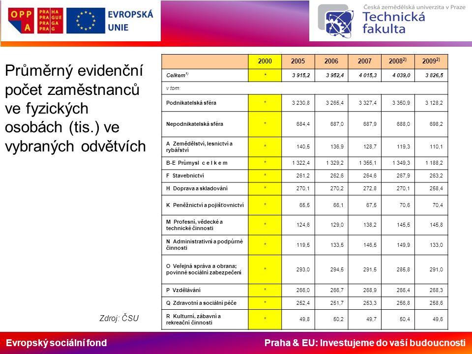Evropský sociální fond Praha & EU: Investujeme do vaší budoucnosti Průměrný evidenční počet zaměstnanců ve fyzických osobách (tis.) ve vybraných odvět