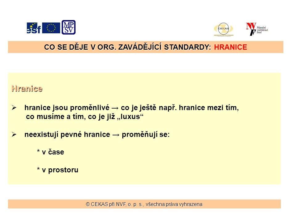 CO SE DĚJE V ORG. ZAVÁDĚJÍCÍ STANDARDY: CO SE DĚJE V ORG.