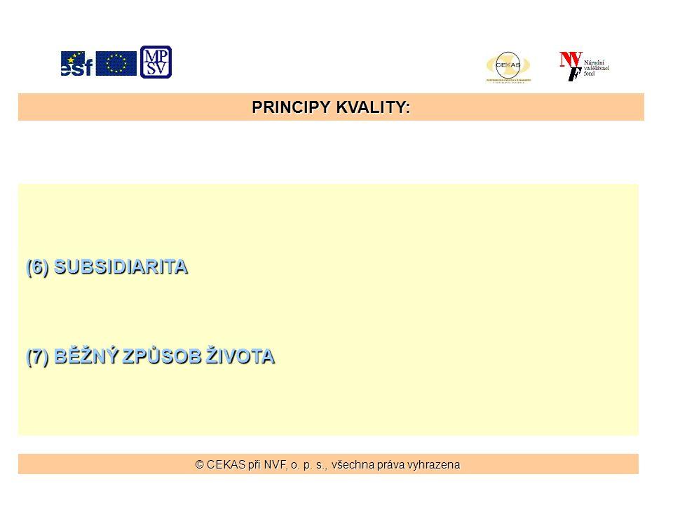 PRINCIPY KVALITY: (6) SUBSIDIARITA (7) BĚŽNÝ ZPŮSOB ŽIVOTA © CEKAS při NVF, o.
