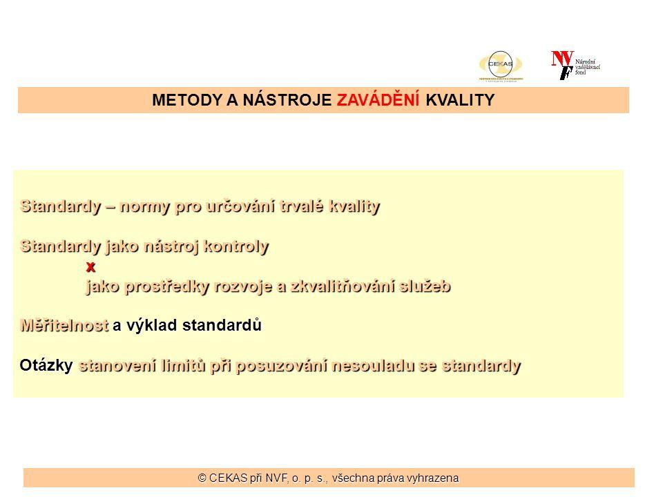 METODY A NÁSTROJE ZAVÁDĚNÍ KVALITY Standardy – normy pro určování trvalé kvality Standardy jako nástroj kontroly x jako prostředky rozvoje a zkvalitňování služeb Měřitelnost a výklad standardů Otázky stanovení limitů při posuzování nesouladu se standardy © CEKAS při NVF, o.