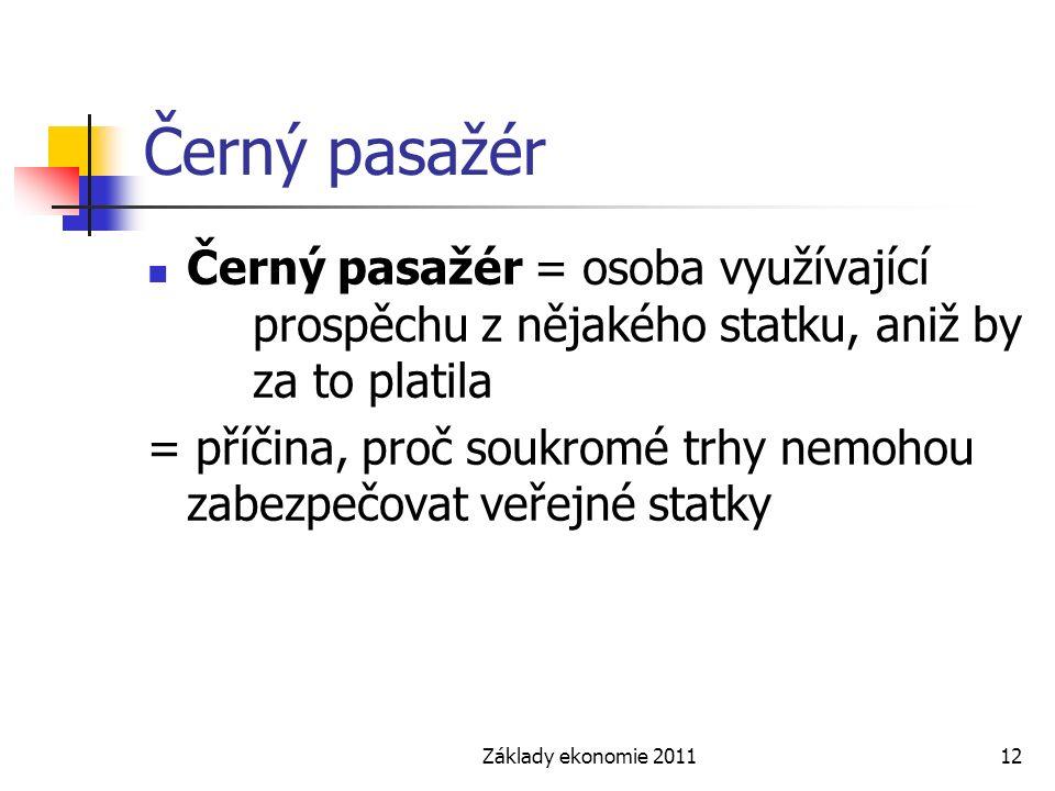 Základy ekonomie 201112 Černý pasažér Černý pasažér = osoba využívající prospěchu z nějakého statku, aniž by za to platila = příčina, proč soukromé tr