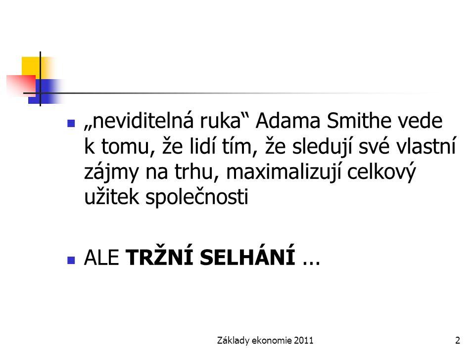 """Základy ekonomie 20112 """"neviditelná ruka"""" Adama Smithe vede k tomu, že lidí tím, že sledují své vlastní zájmy na trhu, maximalizují celkový užitek spo"""