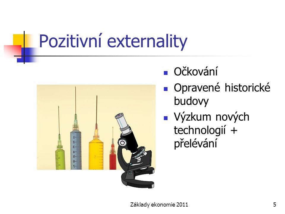 Základy ekonomie 20115 Pozitivní externality Očkování Opravené historické budovy Výzkum nových technologií + přelévání
