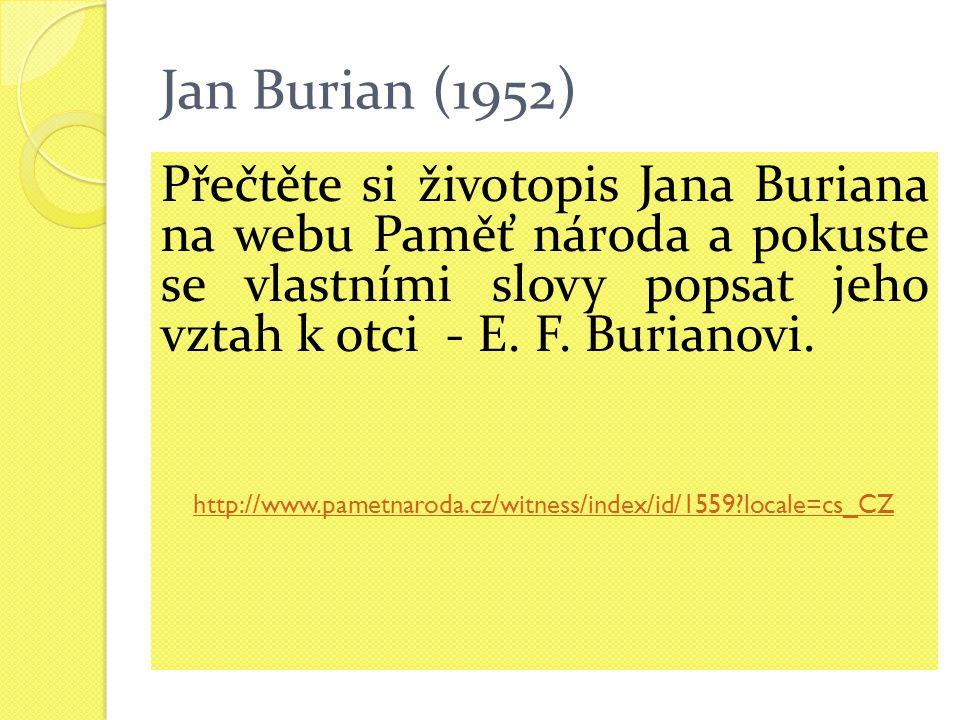 Jan Burian (1952) Přečtěte si životopis Jana Buriana na webu Paměť národa a pokuste se vlastními slovy popsat jeho vztah k otci - E.