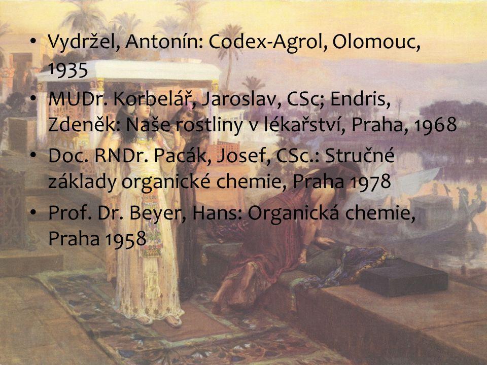 Vydržel, Antonín: Codex-Agrol, Olomouc, 1935 MUDr. Korbelář, Jaroslav, CSc; Endris, Zdeněk: Naše rostliny v lékařství, Praha, 1968 Doc. RNDr. Pacák, J